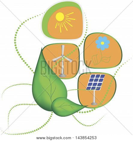 Green landscape illustration, isolated on white background. Saving nature and ecology concept. Vector linear trees, house, people and alternative energy generators. Design for save earth day.
