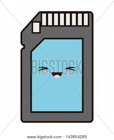 usb memory kawaii cartoon smiling technology icon. Colorful and flat design. Vector illustration