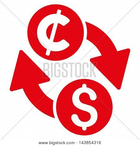 Dollar Cent Exchange icon. Vector style is flat iconic symbol with rounded angles, red color, white background.