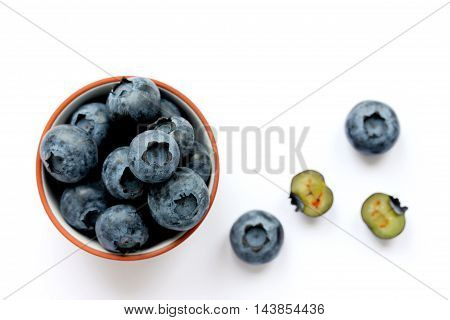 Blueberries close up isolated on white background top view