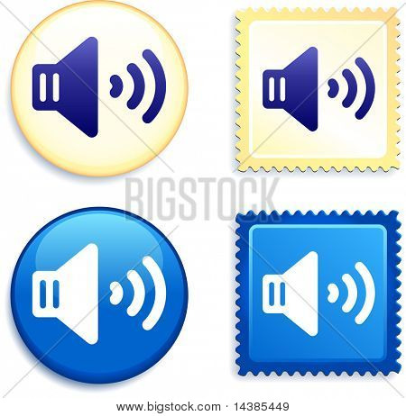 Volume on Stamp and Button Original Vector Illustration Buttons Collection