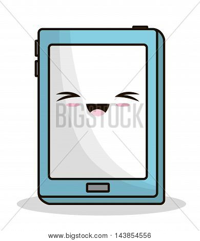 tablet kawaii cartoon smiling technology icon. Colorful and flat design. Vector illustration