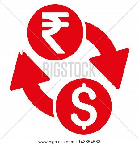 Dollar Rupee Exchange icon. Vector style is flat iconic symbol with rounded angles, red color, white background.