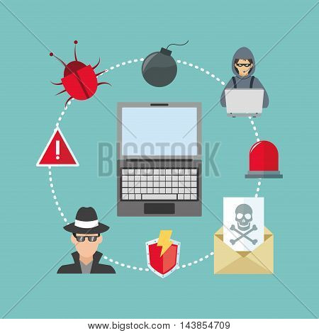 laptop bug hacker alarm cyber security system technology icon. Colorful and flat design. Vector illustration