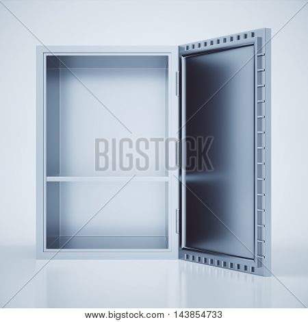 Front view of empty open safe box on light background. 3D Rendering
