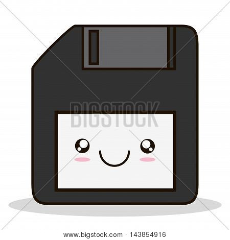 diskette kawaii cartoon smiling technology icon. Colorful and flat design. Vector illustration