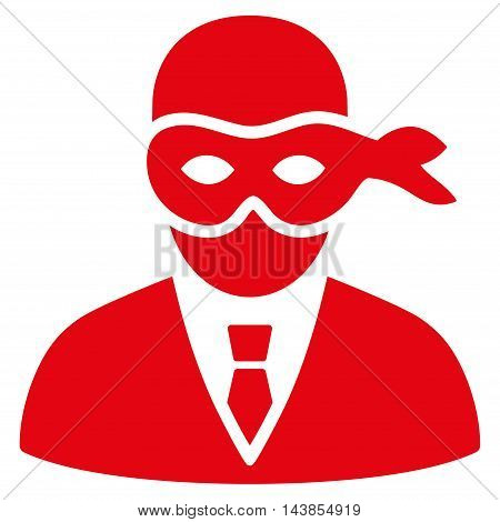 Masked Thief icon. Vector style is flat iconic symbol with rounded angles, red color, white background.