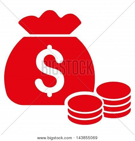Money Bag icon. Vector style is flat iconic symbol with rounded angles, red color, white background.