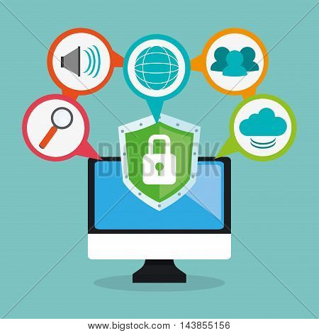 computer padlock cloud lupe cyber security system technology icon. Colorful and flat design. Vector illustration