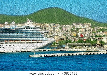 Cruise ships at port of Kusadasi, Turkey. (reference image aded as property release)