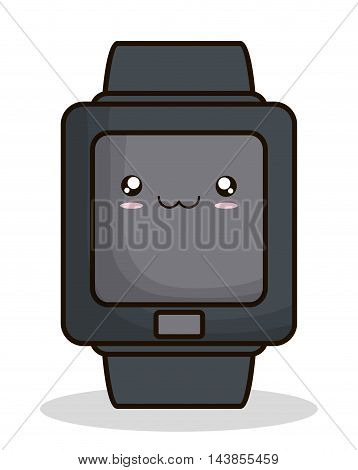 watch kawaii cartoon smiling technology icon. Colorful and flat design. Vector illustration