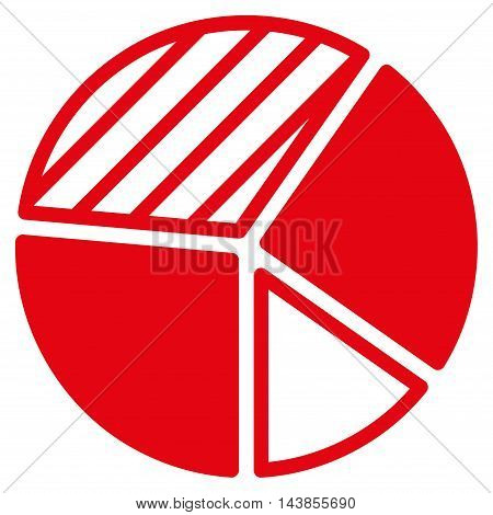 Pie Chart icon. Vector style is flat iconic symbol with rounded angles, red color, white background.