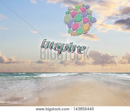 Colorful air balloons with text on beach background. Inspiration concept