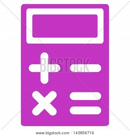 Calculator icon. Vector style is flat iconic symbol with rounded angles, violet color, white background.
