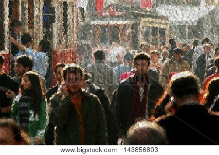 people walking on busy city street.(reference image aded as property release)
