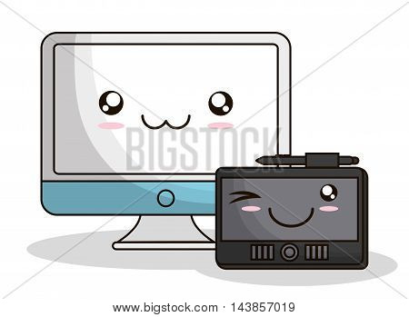 computer tablet kawaii cartoon smiling technology icon. Colorful and flat design. Vector illustration