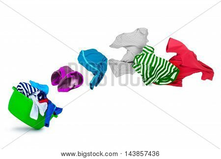 bright colorful clothes flying out from wash bowl on white background