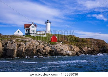 A Classic New England Lighthouse The Nubble Light In The Afternoon At Cape Neddick Maine USA