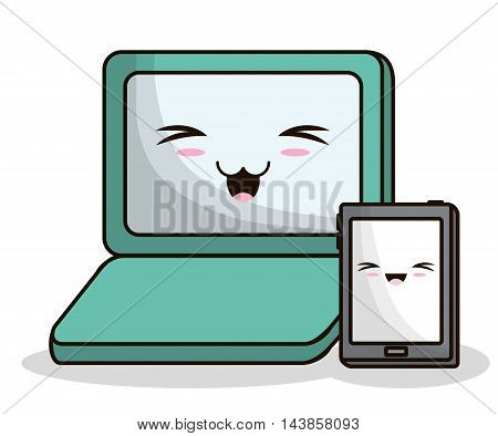 tablet laptop kawaii cartoon smiling technology icon. Colorful and flat design. Vector illustration