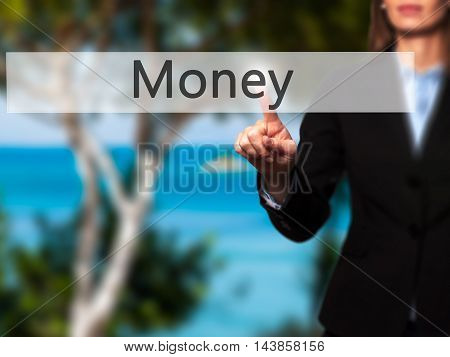 Money - Businesswoman Pressing Modern  Buttons On A Virtual Screen