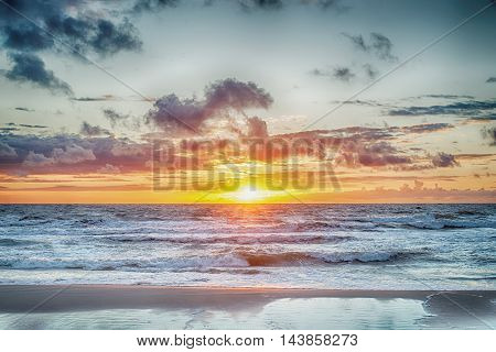 Sunset At The Stormy Sea, hdr image