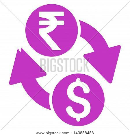 Dollar Rupee Exchange icon. Vector style is flat iconic symbol with rounded angles, violet color, white background.