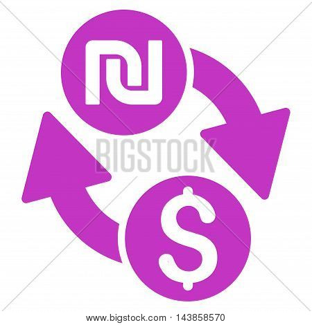 Dollar Shekel Exchange icon. Vector style is flat iconic symbol with rounded angles, violet color, white background.
