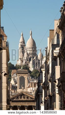 The basilica Sacre Coeur Paris Montmartre district France.