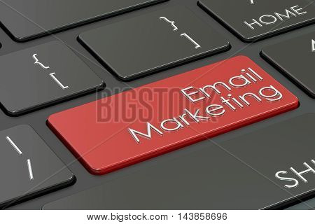 e-mail marketing red key on the keyboard. 3D rendering