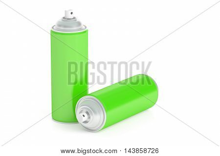 green spray cans 3D rendering isolated on white background