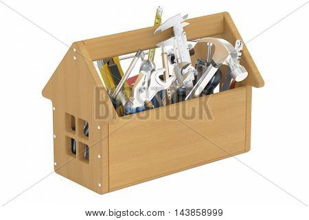 Wooden toolbox with tools 3D rendering on white background