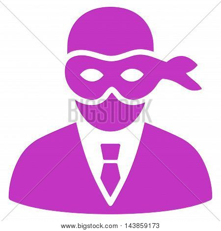 Masked Thief icon. Vector style is flat iconic symbol with rounded angles, violet color, white background.