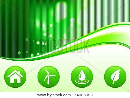Original Vector Illustration: environmental background with green buttons
