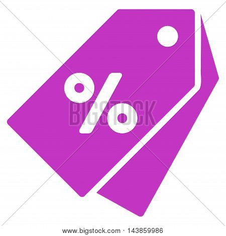 Percent Discount Tags icon. Vector style is flat iconic symbol with rounded angles, violet color, white background.