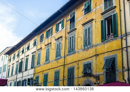 Antique Facade In A Pisa Street. Italy.