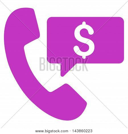Phone Order icon. Vector style is flat iconic symbol with rounded angles, violet color, white background.