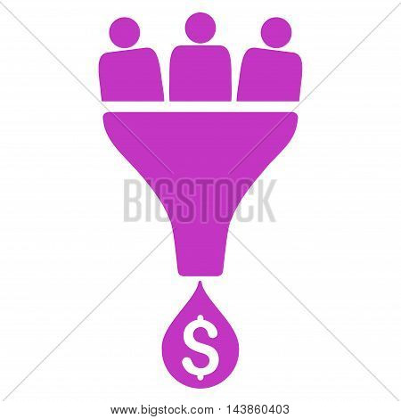 Sales Funnel icon. Vector style is flat iconic symbol with rounded angles, violet color, white background.