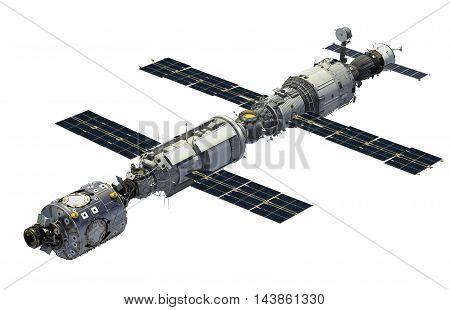 International Space Station Over White Background. 3D Illustration.