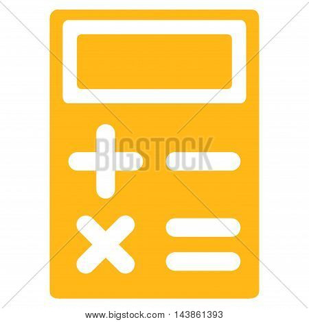 Calculator icon. Vector style is flat iconic symbol with rounded angles, yellow color, white background.