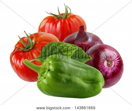 onion purple pepper red tomato isolate vegetable food white background glossy green stalk fresh sweet garden nature tasty healthy vitamin vegetarian plant variety isolated on white
