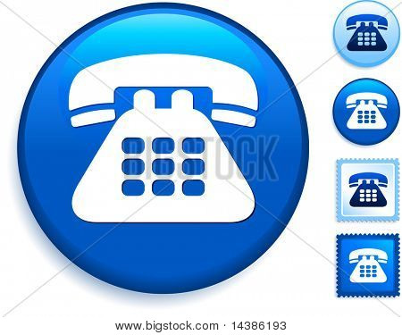 Telephone Icon on Internet Button Original Vector Illustration
