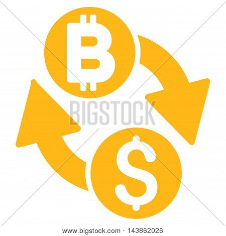 Dollar Bitcoin Exchange icon. Vector style is flat iconic symbol with rounded angles, yellow color, white background.