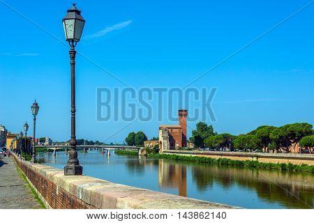 Arno River And Cittadella E Guelfa, Tower. Pisa, Tuscany. Italy.