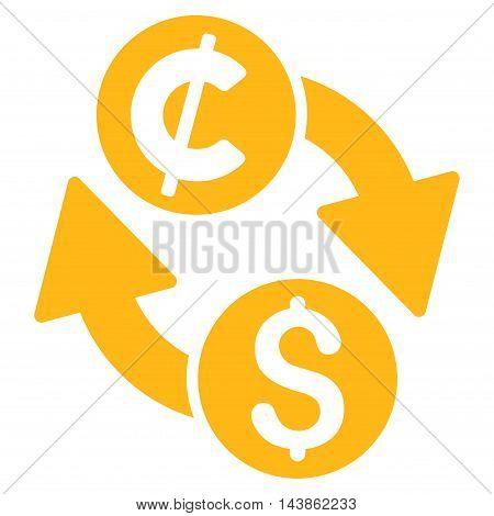 Dollar Cent Exchange icon. Vector style is flat iconic symbol with rounded angles, yellow color, white background.