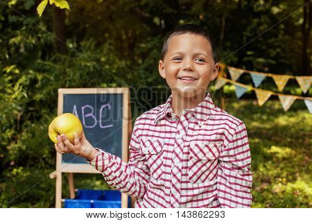 schoolchild smiling handsome boy with apple. The concept of school and education