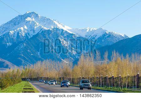 10, 03, 2015 Almaty, Kazakhstan, Street Al Farabi, Tien Shan Mountains, Early Spring.