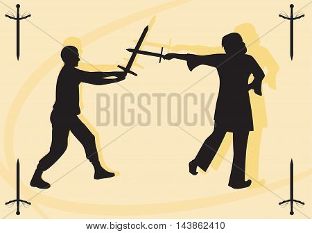 Silhouettes swordsman and swordswoman. Fight on swords. Vector illustration