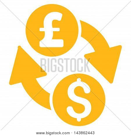 Dollar Pound Exchange icon. Vector style is flat iconic symbol with rounded angles, yellow color, white background.