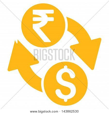 Dollar Rupee Exchange icon. Vector style is flat iconic symbol with rounded angles, yellow color, white background.