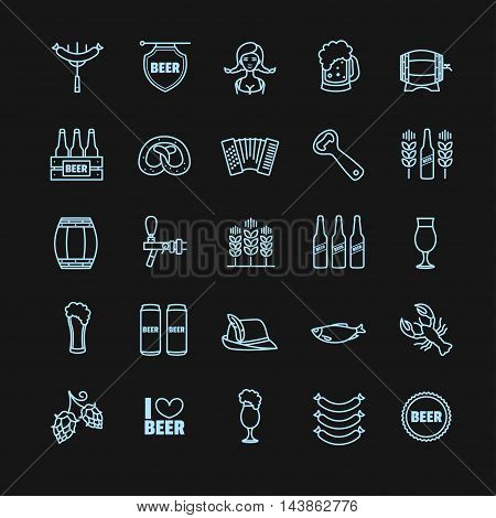 Oktoberfest thin line icons on a black background for your design